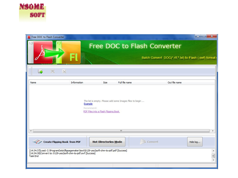 Windows 7 NSomeSoft Free DOC to Flash Converter 1.0 full